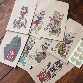 招き猫を「八福神」になぞらえたイラストのポチ袋。独特の表情がかわいいですね。