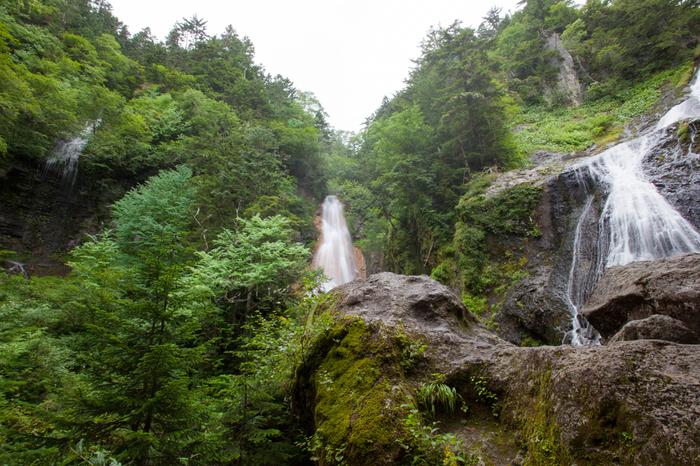 乗鞍高原内には、日本の滝百選にも選定されている三本滝があります。水脈が異なる落差50メートルほどの滝が3つ並んで流れ落ち、見事な渓谷美を作り出しています。