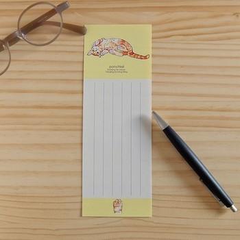 オリジナルイラストのキュートな猫の一筆箋。いろんなポーズの4匹が、各2枚ずつ計8枚入ってます。ミニカードよりもう少し長めのお手紙を書くことができます。
