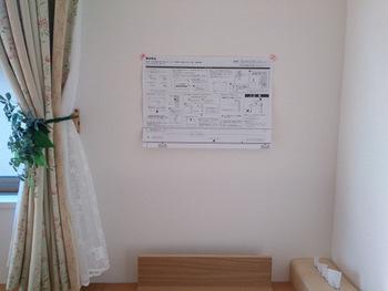 次に、「壁につけられる家具」に付属されている専用用紙を、決定した位置に貼り付けます。ここで手を抜かず、正確に真っすぐに貼り付けるのがポイント!