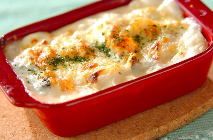 マッシュポテトの滑らかな食感とタラの淡泊さがホワイトソースとマッチして絶妙な味わいに♡