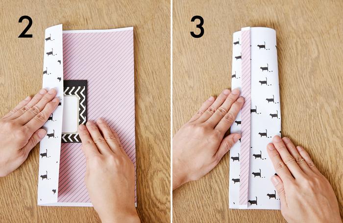 ②裏にし、包みたいものを中央に置き、左端を内側に折ります ③右端を上に重ねます