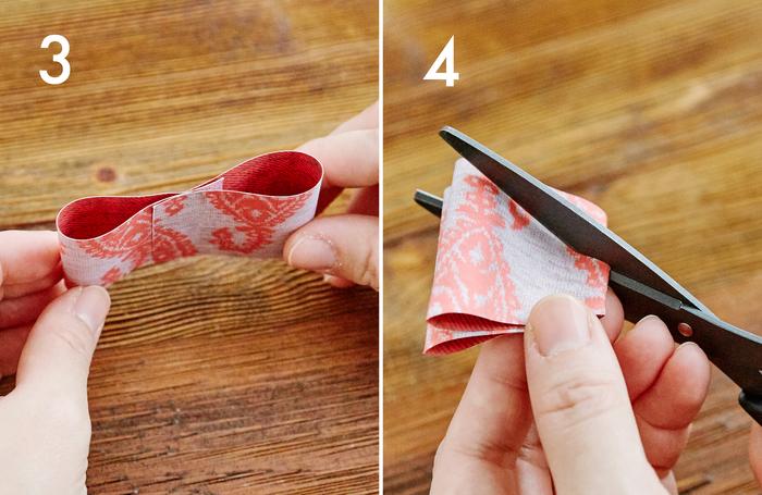③aを写真のように曲げ、中央を両面テープで留めます  ④③を半分に折り、両端を外側に向かって斜めにカットします