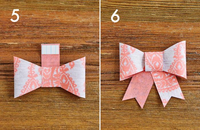 ⑤bの裏側の両端に両面テープを貼り、4の中央に巻きつけて留めます。この時、巻き始めと巻き終わりが、4の裏面にくるようにしてください  ⑥cをカットして、タレを作ります。両面テープで5の裏に貼って完成です