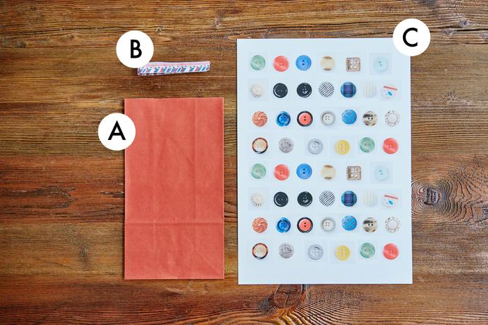 A.マチ・底あり紙袋 B.お好みのリボン C.写真をプリントしたシール用紙(A4)