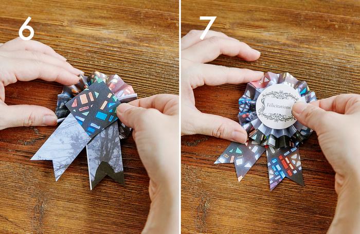 ⑥まず、タレを両面テープで本体裏面に貼り付けます。裏地の全面に両面テープを貼り、タレの上に重ねて貼り付けて、しっかりと固定します  ⑦カットしたBのモチーフを両面テープで表に貼り付け、完成です