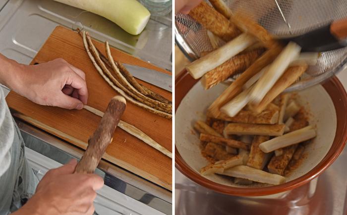 ごぼうは縦に割り、すりこ木などを使って、ところどころ繊維をつぶすようにたたきます。このひと手間が、味を馴染みやすくさせる大事なポイント!だから「たたきごぼう」なんですね。胡麻を粗めにすって調味料と混ぜ合わせ、軽くゆでたごぼうと和えれば完成。すり鉢&すりこ木コンビが大活躍です。