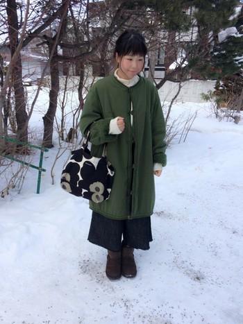 もともとはコートの内側についているライナー。これを取り外してアウターとして着るのが流行っているんです♪ライナージャケット、ライナーコートと言われ今年大注目のアイテムです。古着屋さんでちょっと大き目のライナージャケットやライナーコートを探して、ダボッと着るのが今年風♪