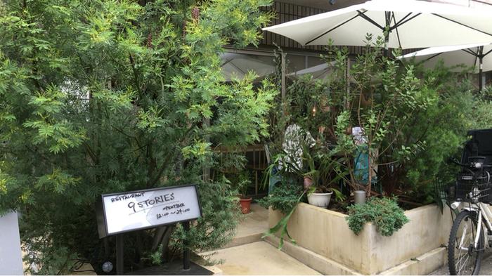 小田急線「代々木八幡駅」から歩いて8分ほどの住宅街の中にあるNINE STORIESはランチはもちろん、ちょっとしたカフェタイムにディナーまで楽しめるおしゃれなレストランとして有名な場所。