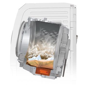 お洗濯で多い悩みのひとつ、生乾きのような「イヤなニオイ」。しっかり洗ったつもりなのに、イヤなニオイがしてしまうのは、洗剤の効果が十分発揮できていないから。そこで、洗浄成分が活性化する約40℃の温水で2回洗浄し、繊維の奥までしっかり洗浄。生乾きのイヤなニオイの発生を抑える「約40℃においスッキリコース」を新搭載。洗剤液を泡立てることで浸透力を高め、ニオイの原因菌や汚れ(皮脂・タンパク)を洗い落とすので、部屋干ししても、もうイヤなニオイの心配をしなくて大丈夫!