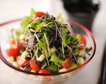 柚子の香りがふんわりと食欲をそそる、さっぱりしたそばのサラダです。チーズやオリーブオイルを使っているので、洋風の味わいも感じられます。