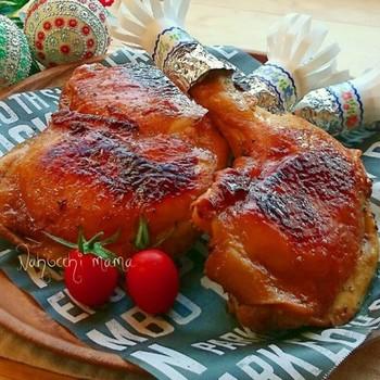 にんにくの香りが食欲をそそるローストチキンもフライパンで簡単に♪下味をしっかりつけるのがポイントです。