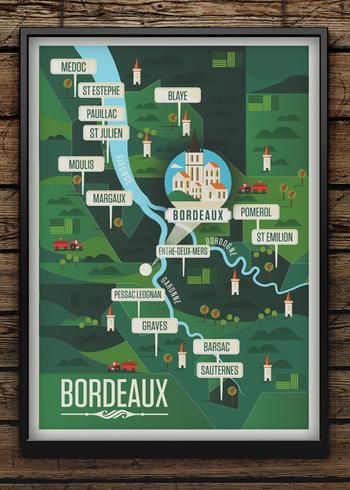 ボルドー地方のワインMAP。有名な名前が沢山ありますよね。