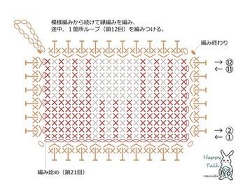 こちらが編み図です。これから少しずつ編み物を始めてみたい、という方の練習にもおすすめです。
