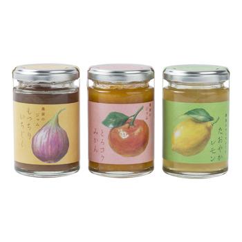【観音山フルーツガーデンのジャム】 紀州のフルーツ農家さんが真心こめて作った、フルーツの濃厚な味を堪能できるジャム3種。完熟のいちじくにレモンの爽やかな酸味を合わせた「もっちりいちじく」、甘くて濃いみかんの味が凝縮した「とろコクみかん」、レモンを贅沢に使ったフレッシュな味わいの「たおやかレモン」、どれも捨てがたい美味しさで迷ってしまいます。防腐剤、ワックス、保存料、着色料...など余計なものは一切添加していないのも安心です。