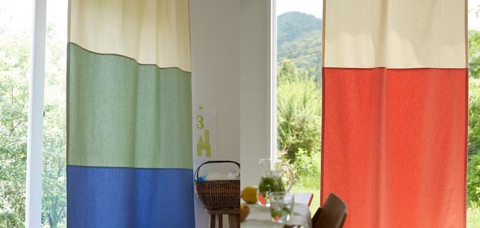 意外となかった別布を繋いだカーテン。優しい起毛素材と軽やかな麻のカーテンと2種類あります。好きな色を組み合わせて自分だけの一枚をオーダーして。