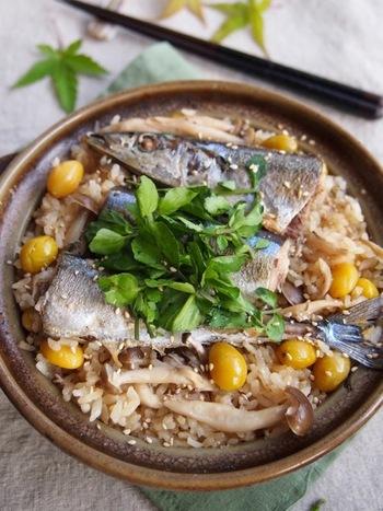 『さんまとクレソンの秋の土鍋ご飯』  見た目の豪快さが印象的。クレソンをそえるとほろ苦い大人の土鍋ご飯になります。