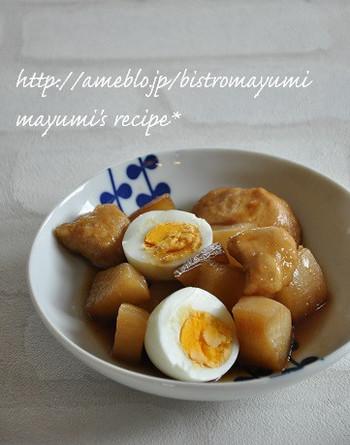 シンプルな材料にシンプルなレシピ。和食初心者にもおすすめの、メインのおかずになる煮物です。濃いめの味付けがよく染みた大根は、ご飯にもよく合いますよ。