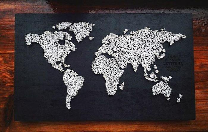 じっくりゆっくり大きな作品にチャレンジしたいなら、世界地図はいかが?図案も手に入りやすいし、誰もが知ってるってポイントですよね。