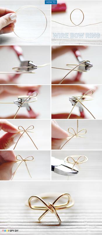 欲しい大きさの輪を作ったら、写真の手順でワイヤーを曲げていきます。リボンの形に巻けたら、端を切って完成です。 ワイヤーの端が尖ってしまったら、ヤスリをかけるといいです。
