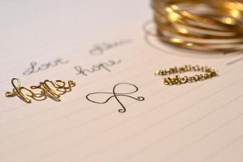 紙に作りたい形を書きます。この時、文字なら筆記体など、一筆書きで作れる図案にします。
