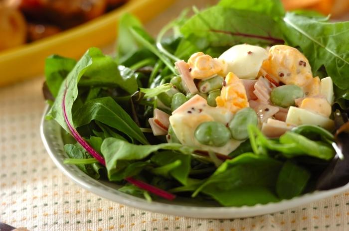 タンパク質を補うなら、サラダにゆで卵を取り入れてみて。腹もちが良くなり、ミモザサラダのように彩りも綺麗です。マヨネーズのカロリーが気になるなら、ヨーグルトを加えることで滑らかでさっぱりとしたソースになりますよ。