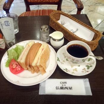 朝であればモーニングセットも人気。こちらはBセットです。コーヒーとセットでもちろんコーヒーはお代わりができます。