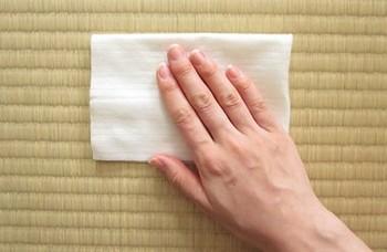 """埃を取り除いた後は、畳の拭き掃除をしましょう。。汚れが落ちやすく、殺菌効果も得られる""""お酢""""を使うと良いようです。さらに、イグサ表面に膜ができて汚れ防止の効果まで期待できるということ。試したい裏ワザですね♪  ※ただし、変色の原因になるので""""新しい畳""""や""""表替えしたて半年以内""""の畳に行わないで下さい。"""