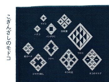 こぎんざしの伝統模様は縦長のひし形が多く、それらを単独、あるいはつなげて模様としています。抽象化された図柄は幾何図形が多いためか堅苦しいイメージもあるのですが、実物は布の風合いが暖かい、身につけていて落ち着く図柄です。  「ハナコ(花)」「ネコのマナグ(ネコの眼)」などは、ユニークな模様として今に知られています。 画像で挙げた以外にも、やすこ刺し、島田刺し、べこ(牛のこと)刺しなど、ユニークなモドコはたくさんあるんですよ。  ※画像は伝統柄を元に筆者が作成したものです