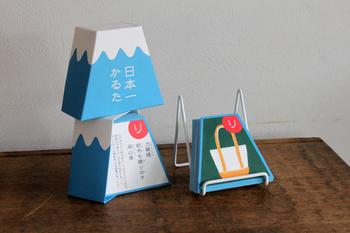富士山のパッケージがユニークなこちらのカルタは中川政七商店の「日本一かるた 富士山」。富士山に、全国47都道府県の「日本一」のモノを描き、いろは歌のひらがな47文字にあわせて詠んだかるたです。