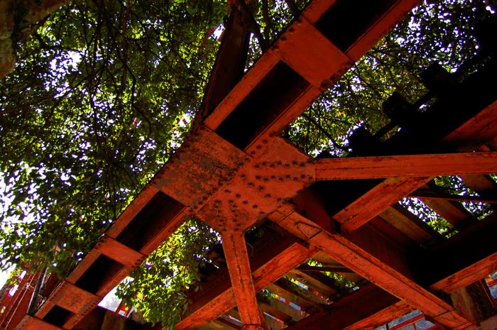 鉄橋跡を下から見上げてみましょう。周囲の樹々と、赤い鉄橋のコントラストが美しく、格好の被写体になっています。
