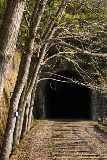 ノスタルジックな雰囲気が漂うレールの無い枕木跡を歩いてゆくと、途中でいくつものトンネルに遭遇します。