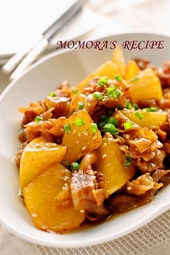 豚バラと一緒に煮込んだご飯によく合う一品!美味しそうなテリと甘辛みその香りは男性にも喜ばれそうなメニューです。