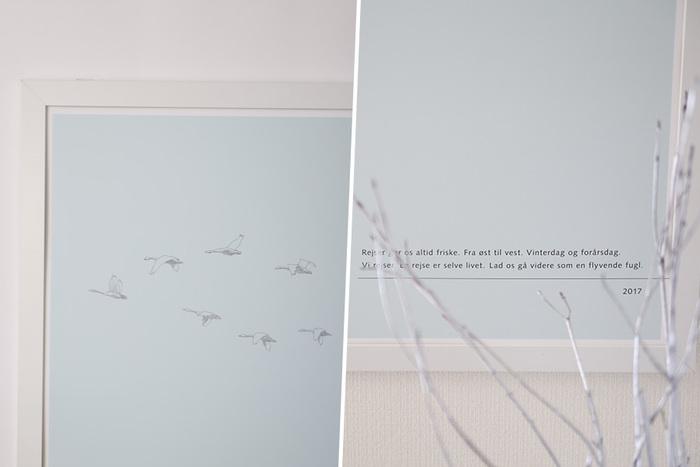 渡り鳥の白鳥は、フィンランドでは春を告げる鳥なのだそう。「旅は人生そのもの。羽ばたく鳥のように 真っ直ぐに進み続けよう」という意味のデンマーク語の素敵なメッセージが添えられています。