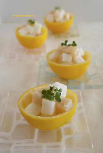 爽やかな見た目のレモンマリネ。箸休めにもさっぱり味の物は欲しいですね。