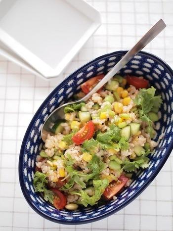 玄米と豆類に好きな野菜を混ぜたグレインズサラダ。ヘルシーなのに栄養満点で女子ウケ間違いなし!トマトをはじめ、カラフルな野菜がたっぷり入った目で見ても楽しめるサラダです。