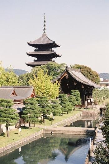 五重塔が有名な東寺は、京都駅から徒歩でも行くことができる便利な立地です。有料拝観は8:30からですが、開門は5:00ですので、早朝から境内をゆっくりと見て回ることができます。