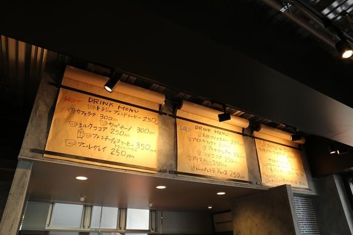 ドリンクメニューはこちら。  茅ヶ崎では美味しいモーニングを食べられる数少ないお店のひとつです。