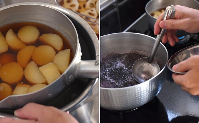長芋は味をしっかり染みこませるため、一度煮汁ごと完全に冷ますことが必須。黒千石大豆は沸いたらアクが出てくるので、丁寧に取り除きましょう。水で戻したり、味が染みるまで寝かせたり…美味しさを得るには、ときには手間も時間も必要なんですね。