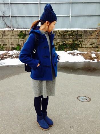 挑戦したいけど中々使い方が難しいカラームートンブーツも、アウターや小物と色を合わせるとまとまり感がでます♪冬こそカラーを取り入れましょう!