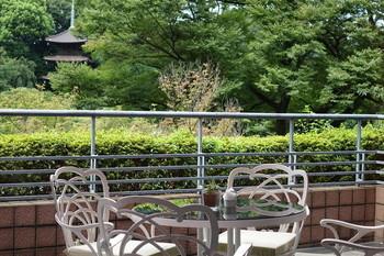 お天気のよい日には気持ちの良いテラス席でお茶を。目の前にお庭が広がり、五重塔も見えます。夕暮れ時が特におすすめとのこと。