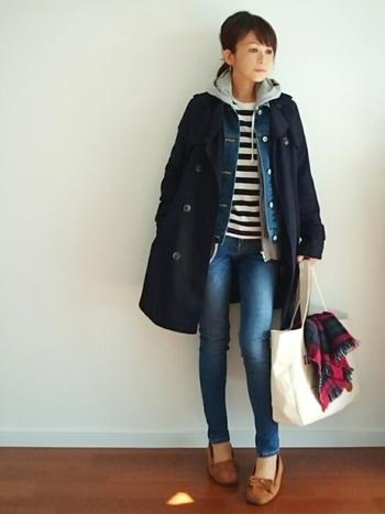 パーカー×デニムジャケット×トレンチコーチコートを重ねに重ねた、超防寒レイヤードスタイルもこんなに素敵…♪