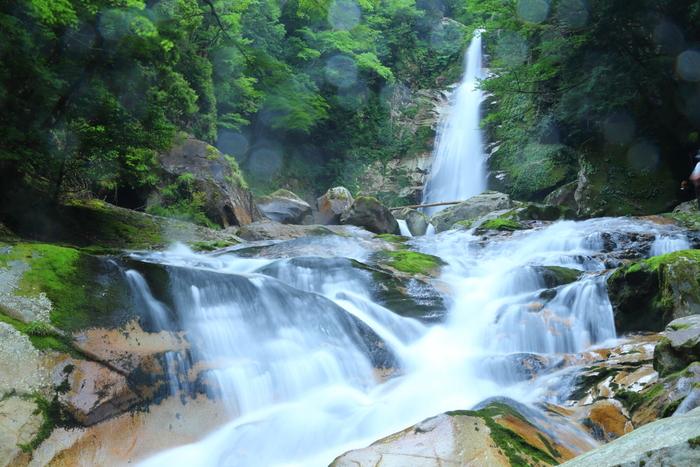 十津川村には大小様々な滝が点在しています。「笹の滝」はそのうちの一つで、日本の滝100選にも選ばれている名所。夏の時期は清流に足を浸して休むこともできる、癒しのスポットです♪