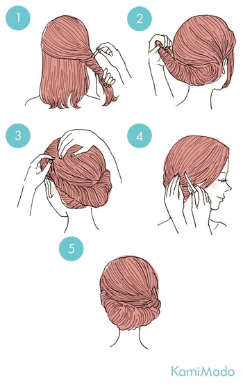 ネジネジ…と二段に分けた髪をねじって留めるだけで簡単ギブソンタック風ヘアに♪