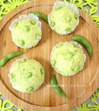 枝豆を使った色鮮やかな蒸しパン。ホットケーキミックスを使うので、計量も簡単です。
