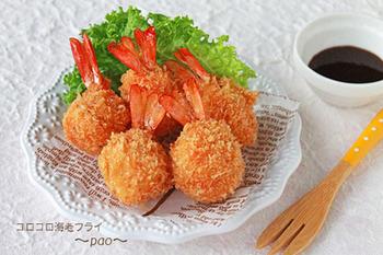 まん丸の形が可愛い海老フライ?形を変を少し帰るだけで、お弁当にも詰めやすくて食べやすいですよね。