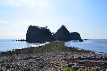堂ヶ島エリアは数々の島から成り立っています。 象島、中ノ島、高島という3つの島からなる三四郎島は、海の干満の差により陸と地続きになるトンボロ現象が起きる不思議な島です。 干潮になると約30メートルの浜ができ、足を濡らさずに三四郎島まで渡ることができます。また満潮時には、水面下に隠れてしまいその上を小さな舟が往来することができます。