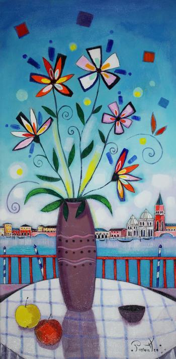 「ベニスの眺望」・・・テラスから望むベニスの風景。いろいろな色彩がちりばめられています。可愛らしく生けられたブーケが花火のようですね!