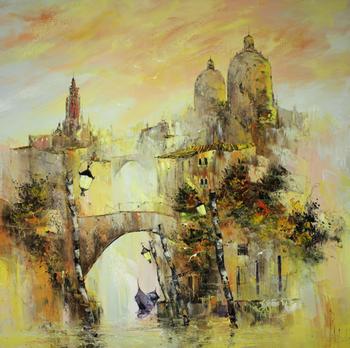「中世のベニス」・・・あたりを霧が立ち込め、静かに進むゴンドラ。馬に乗った騎士が橋の上に現れそうです。どんなストーリーが描かれているのでしょうか?見る者の想像力をふくらませてくれます。