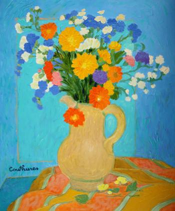 「キンセンカのあるブーケ」・・・青い背景に金色のキンセンカ。そしてキンセンカ色の花瓶とテーブルクロス。その取り合わせがキレイですね!